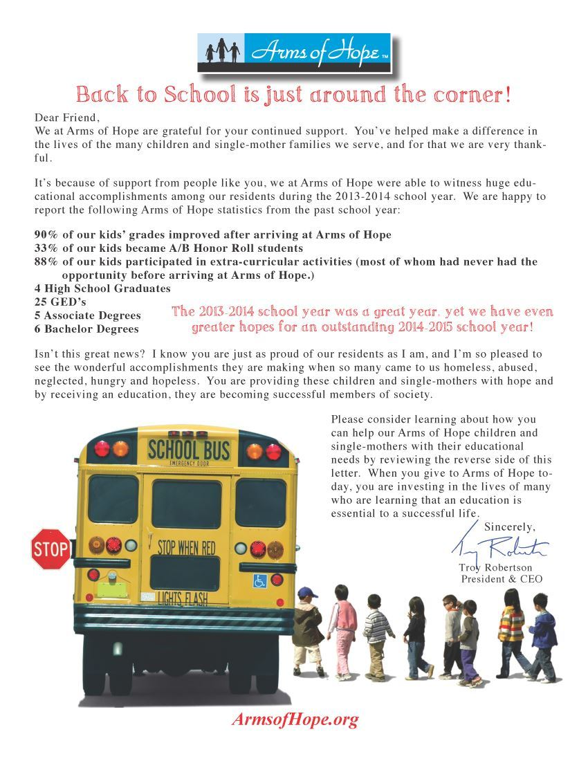 back to school direct mail letter